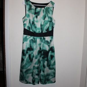 Sleeveless Dress, Green, Black, White, The Limited